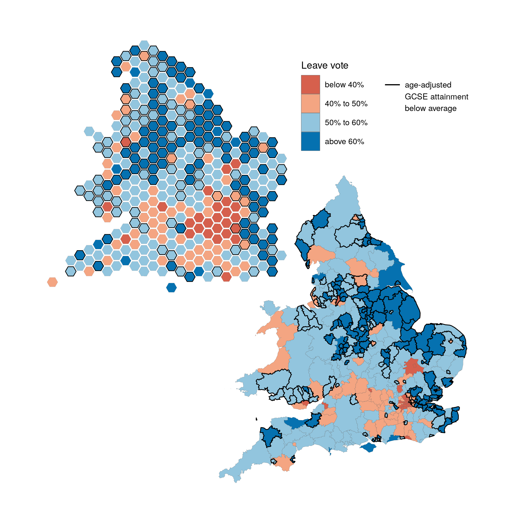 Map of Leave votes shares and age-adjusted educational attainment