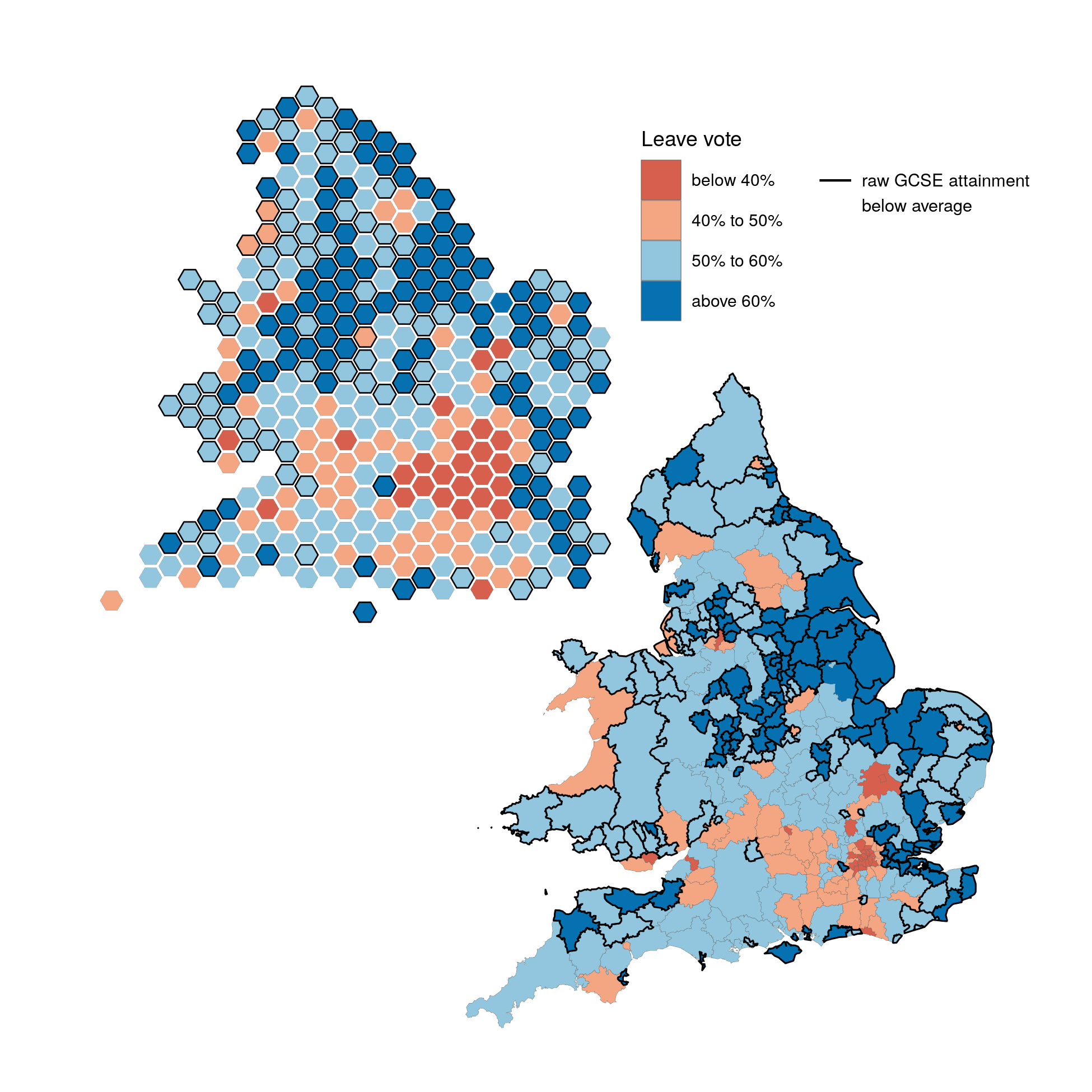 Map of Leave votes and educational attainment